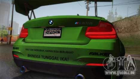 BMW M235i 69Works pour GTA San Andreas vue arrière