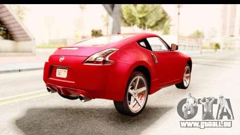 Nissan 370Z 2010 für GTA San Andreas zurück linke Ansicht