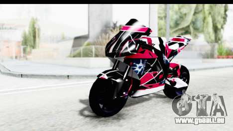 Dark Smaga Motorcycle with Frostbite 2 Logos pour GTA San Andreas vue arrière