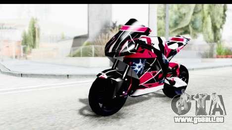 Dark Smaga Motorcycle with Frostbite 2 Logos für GTA San Andreas Rückansicht