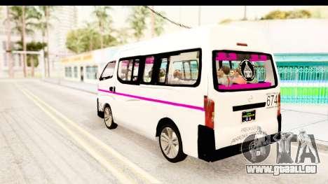 Nissan NV350 Urvan Comercial Mexicana pour GTA San Andreas laissé vue