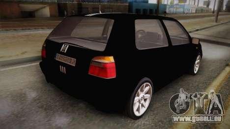 Volkswagen Golf Mk3 Blyatmobile pour GTA San Andreas laissé vue