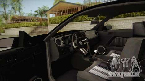 Ford Mustang GT500 pour GTA San Andreas vue intérieure