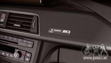BMW M3 F30 30 Jahre pour GTA San Andreas vue arrière