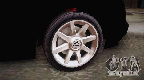 Volkswagen Golf Mk3 Blyatmobile pour GTA San Andreas sur la vue arrière gauche