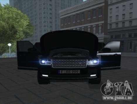 Land Rover Range Rover Vogue pour GTA San Andreas sur la vue arrière gauche