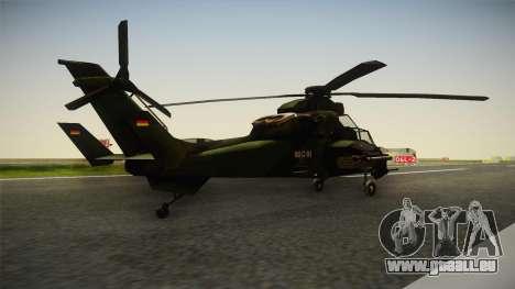 Eurocopter Tiger Extra Skin pour GTA San Andreas sur la vue arrière gauche