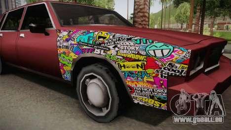 Tahoma Low Sticks pour GTA San Andreas vue arrière