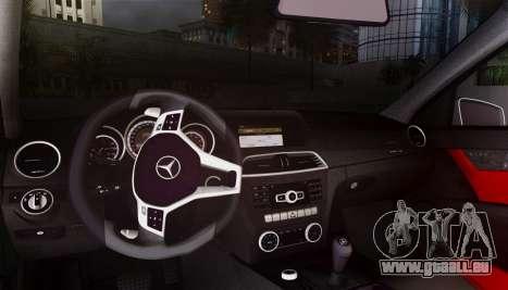 Mercedes-Benz C63 AMG w204 pour GTA San Andreas vue intérieure