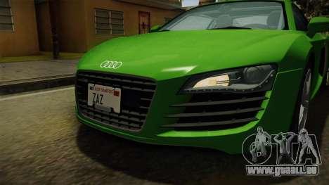 Audi R8 Coupe 4.2 FSI quattro EU-Spec 2008 für GTA San Andreas obere Ansicht