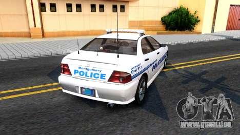 1998 Dinka Chavos Montgomery Police Department für GTA San Andreas zurück linke Ansicht
