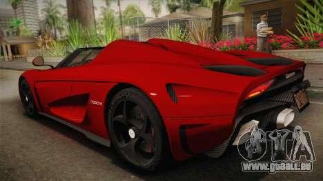 Koenigsegg Regera 2016 pour GTA San Andreas laissé vue