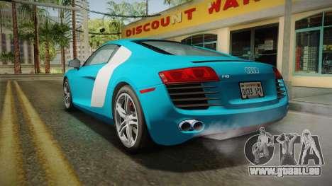 Audi R8 Coupe 4.2 FSI quattro US-Spec v1.0.0 v2 pour GTA San Andreas laissé vue