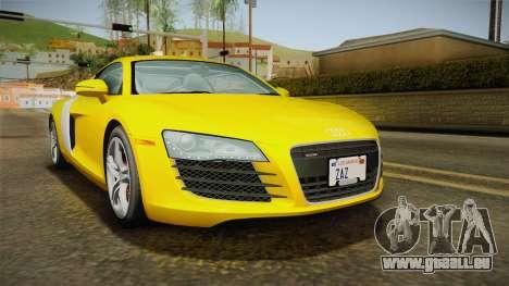 Audi R8 Coupe 4.2 FSI quattro US-Spec v1.0.0 pour GTA San Andreas sur la vue arrière gauche