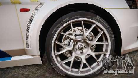 Mitsubishi Lancer Evo X Polizei für GTA San Andreas zurück linke Ansicht