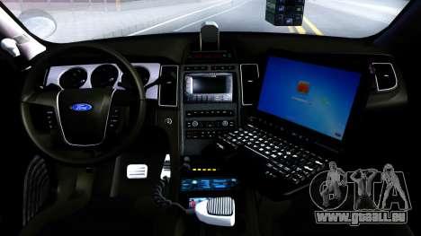 Ford Taurus Slicktop Metro Police 2013 pour GTA San Andreas vue intérieure