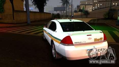 2008 Chevrolet Impala LTZ County Sheriff für GTA San Andreas zurück linke Ansicht