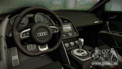 Audi R8 Coupe 4.2 FSI quattro EU-Spec 2008 für GTA San Andreas Innenansicht