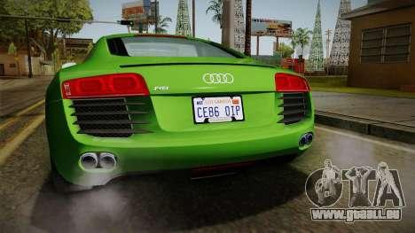 Audi R8 Coupe 4.2 FSI quattro EU-Spec 2008 für GTA San Andreas Unteransicht