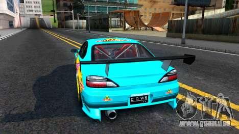 Taneshima Popura NISSAN Silvia S15 Itasha pour GTA San Andreas sur la vue arrière gauche
