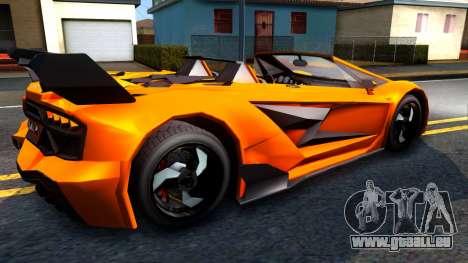 GTA V Pegassi Lampo Roadster pour GTA San Andreas vue de droite
