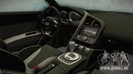 Audi R8 Coupe 4.2 FSI quattro US-Spec v1.0.0 v2 pour GTA San Andreas vue intérieure