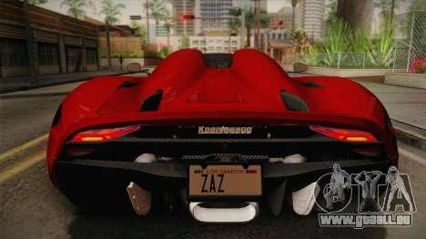 Koenigsegg Regera 2016 für GTA San Andreas Rückansicht