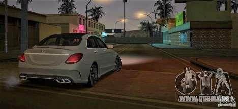 Mercedes-Benz C63 AMG W205 pour GTA San Andreas sur la vue arrière gauche