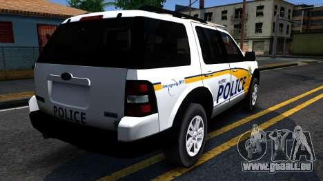 Ford Explorer Slicktop Metro Police 2010 pour GTA San Andreas vue arrière