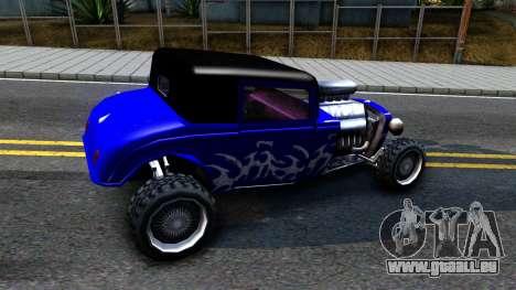 Duke Blue Hotknife Race Car für GTA San Andreas zurück linke Ansicht