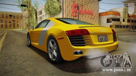 Audi R8 Coupe 4.2 FSI quattro US-Spec v1.0.0 pour GTA San Andreas vue de droite