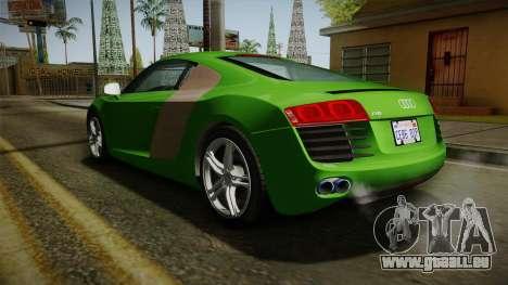 Audi R8 Coupe 4.2 FSI quattro EU-Spec 2008 für GTA San Andreas zurück linke Ansicht