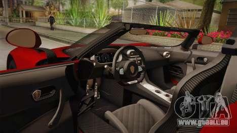 Koenigsegg Regera 2016 für GTA San Andreas Innenansicht