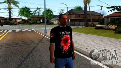 Black I am Fine T-Shirt für GTA San Andreas zweiten Screenshot