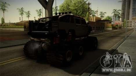 Hummer H2 6x6 Monster für GTA San Andreas zurück linke Ansicht