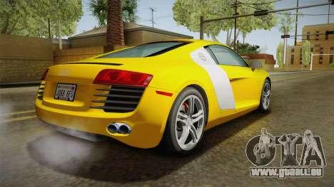 Audi R8 Coupe 4.2 FSI quattro US-Spec v1.0.0 pour GTA San Andreas laissé vue