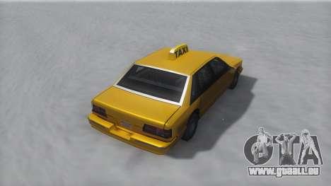 Taxi Winter IVF für GTA San Andreas zurück linke Ansicht