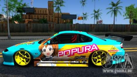 Taneshima Popura NISSAN Silvia S15 Itasha für GTA San Andreas linke Ansicht