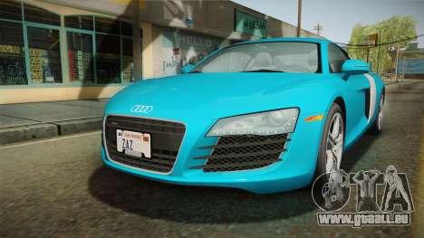 Audi R8 Coupe 4.2 FSI quattro US-Spec v1.0.0 v2 pour GTA San Andreas sur la vue arrière gauche