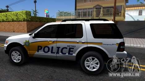 Ford Explorer Slicktop Metro Police 2010 pour GTA San Andreas laissé vue