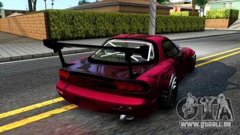 Mazda RX-7 Madbull Rocket Bunny für GTA San Andreas zurück linke Ansicht