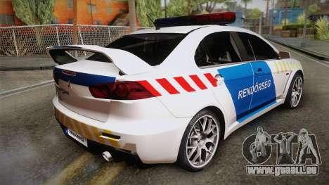 Mitsubishi Lancer Evo X De La Police pour GTA San Andreas laissé vue