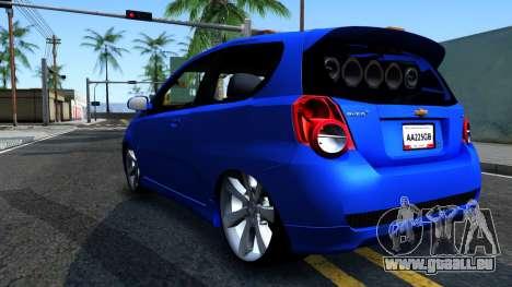 Chevrolet Aveo 2012 pour GTA San Andreas sur la vue arrière gauche