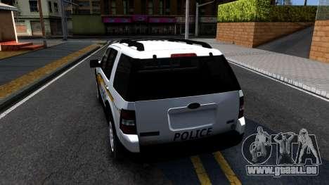 Ford Explorer Slicktop Metro Police 2010 pour GTA San Andreas sur la vue arrière gauche