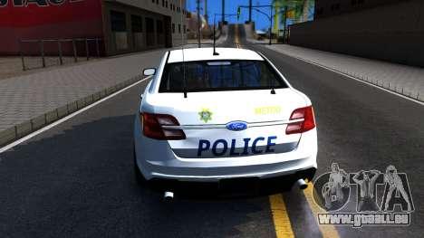 Ford Taurus Slicktop Metro Police 2013 pour GTA San Andreas sur la vue arrière gauche