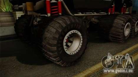 Hummer H2 6x6 Monster für GTA San Andreas Rückansicht