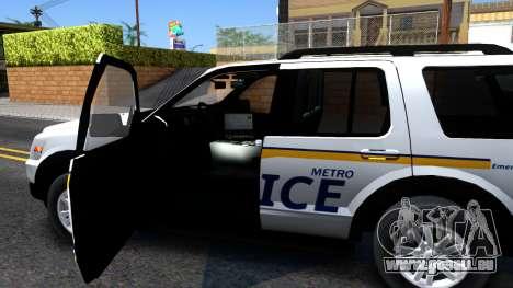 Ford Explorer Slicktop Metro Police 2010 pour GTA San Andreas vue intérieure