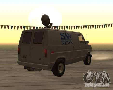 Ford E150 News Van pour GTA San Andreas sur la vue arrière gauche