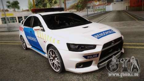 Mitsubishi Lancer Evo X De La Police pour GTA San Andreas