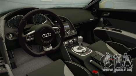 Audi R8 Coupe 4.2 FSI quattro US-Spec v1.0.0 pour GTA San Andreas vue intérieure
